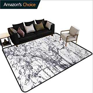 YucouHome Abstract Moon & Stars Area Rug Anti Slip, Murky Marble Rock Motifs with Dynamic Fractal Figures Abstract and Artsy Print, Fashionable High Class Living Bedroom Rugs(3'x 8') Grey White