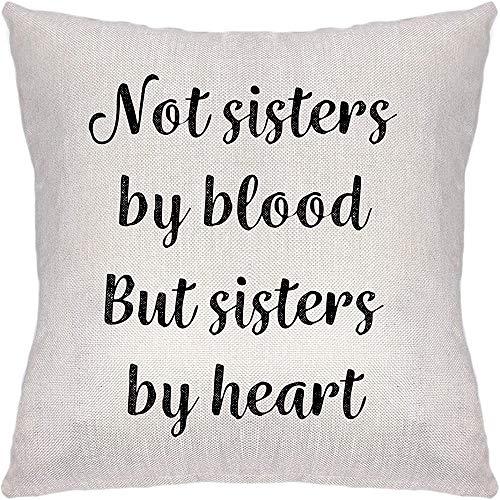 Federa decorativa per cuscino per sorelle, non sorelle di sangue ma sorelle di cuore, decorazione per la casa, divano e camera 45 x 48 cm