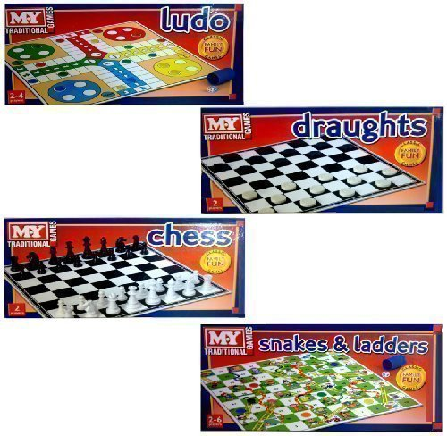 SET OF 4 MY TRADITIONAL FAMILY BOARD GAMES CHESS LUDO SNAKES & LADDERS DRAUGHTS by Board Games