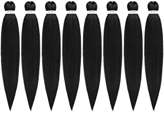Pre-Stretched Braiding Hair Extensions Black - 24 inch 8 Packs Synthetic Crochet Braids, Natural Easy Braid Crochet Hair, Hot Water Setting Professional Soft Yaki Texture (24 inch, 1B)