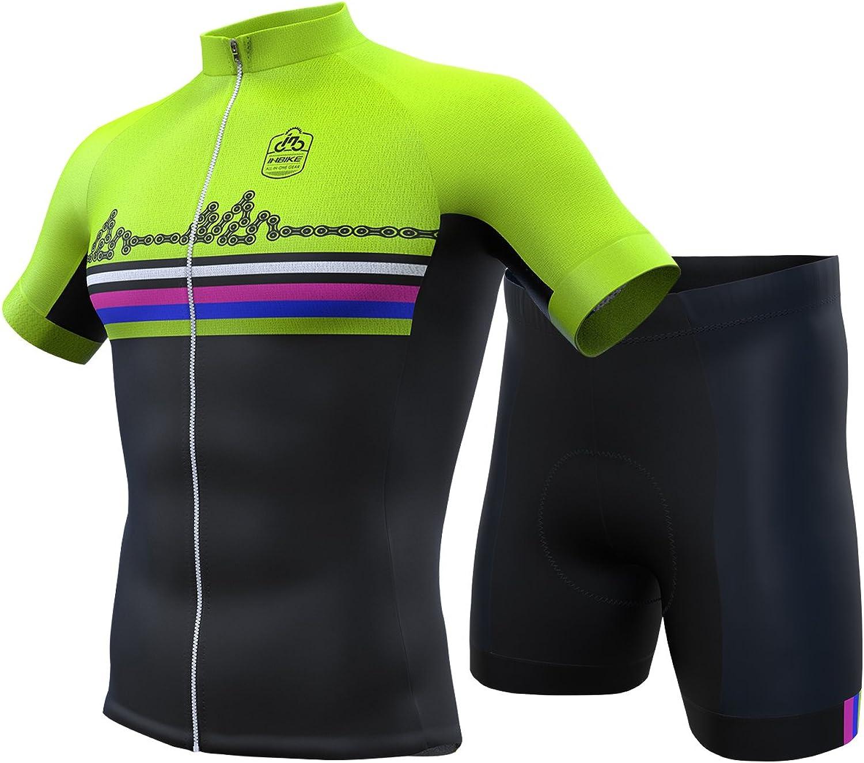 INBIKE Men Cycling Jersey Set Short Sleeve Breathable Bike Shirt with Padded Shorts G06 2XL