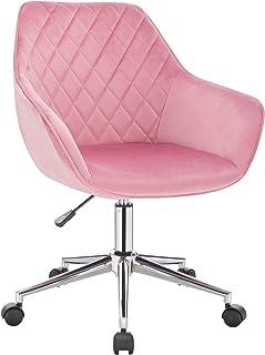 WOLTU 1 X Chaise de Bureau Fauteuil Bureau réglable en Hauteur,Tabouret de Bureau Tabouret de Travail en Velours,Rose BS102rs