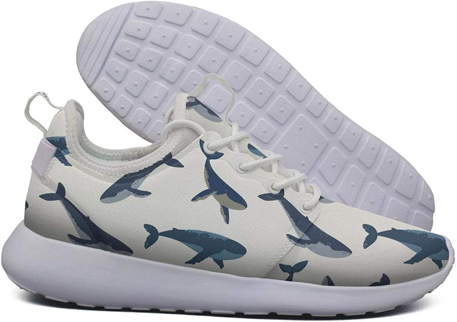 Hoohle Sports Womens Dancing Dolphin Whales Flex Mesh Roshe 2 Lightweight Casual Walking Jogging shoes