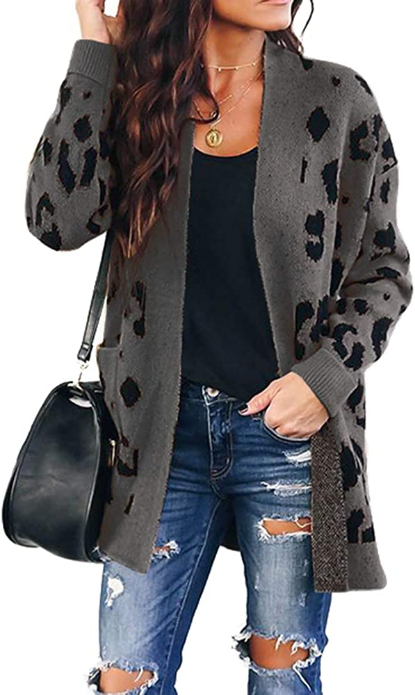 Soulomelody Msikiver Womens Fuzzy Recommended Free shipping New Sweater Cardigan Print Leopard