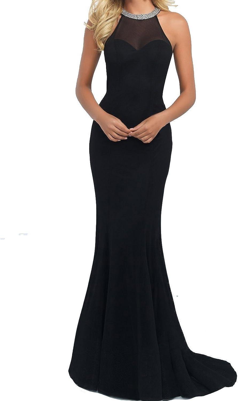 Changjie Women's Black Long Prom Dresses Scoop Mermaid Beading Formal Gown