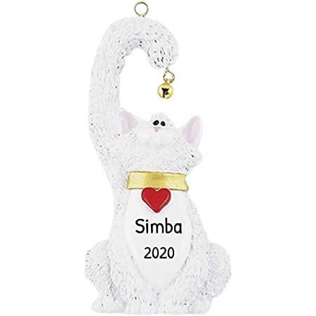 Amazon Com Personalized White Cat Christmas Tree Ornament 2020 Kitty Heart Collar Hold Real Bell Breed Neutral Purr Faithful Friend Fur Ever Aww Balinese Persian Gift Year Free Customization White Home