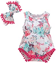 Willow S 🦋Newborn Infant Baby Girl Boy Hawaii Floral Printed Tassels Romper Bodysuit Headband Bow Outfits Set
