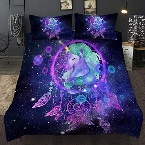 Galaxy Unicorn Bedding Sets 3 Piece Feather Dream Catcher Duvet Cover Feather Starry Sky Horse Pattern Comforter Cover Cartoon Unicorn Theme Quilt Cover for Kids Girls Woman, Full Size