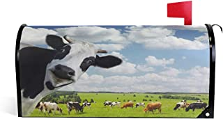 ZZKKO Magnetic Mailbox Covers Wildlife Funny Cow in Green Farm Nature Landscapes Letter Box Cover Colorful Painting Graden Outdoor Decorations,20.8x18 Inch Standard Size,Multicolor