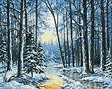 Pintura por número paisaje de bosque de nieve pintado a mano arte de pared...