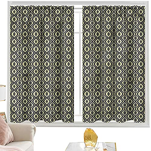 Cortina opaca para barra de cortina geométrica, ondulada vertical azulejos W52 x L95 pulgadas cortinas de panel