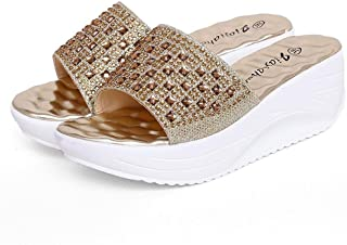 LUKEEXIN Rhinestone Increased Sandal Waterproof Platform Muffin with Sandals and Slippers