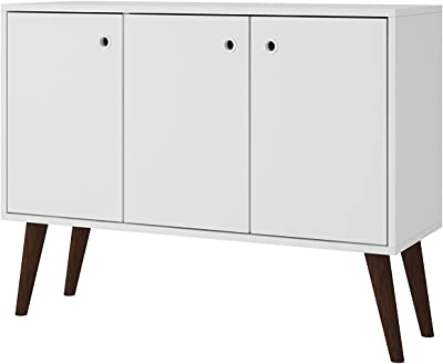Off Off White and Maple Cream Manhattan Comfort 1010452 Utopia Sideboard Buffet Stand