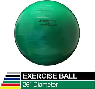 TheraBand Exercise Ball,  Stability Ball with 65 cm Diameter for Athletes 5'7 to 6'1 Tall,  Standard Fitness Ball for Posture,  Balance,  Yoga,  Pilates,  Core,  Rehab,  Green