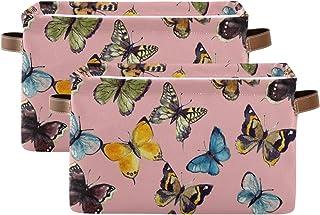 Tropicallife F17 Lot de 2 paniers de rangement colorés en tissu pliable avec poignée pour chambre d'enfant ou bureau