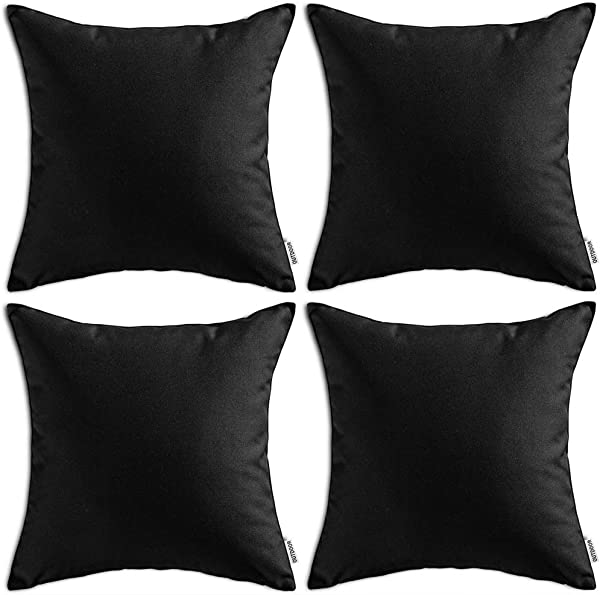MIULEE Pack Of 4 Decorative Outdoor Waterproof Pillow Cover Square Garden Cushion Case PU Coating Throw Pillow Cover Shell For Tent Park Couch 18x18 Inch Black