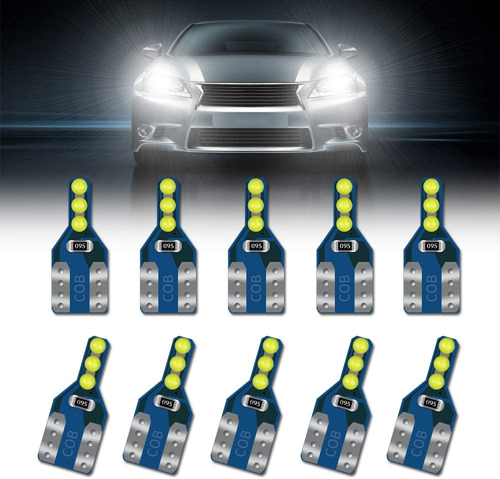 Teguangmei 10X T10 W5W Bombillas LED Cu/ña para Autom/óviles COB LED Interior Domo Mapa Luces del Maletero Luz de Matr/ícula de Equipaje 168 194 Super Brillante Canbus 6SMD COB Bombilla Azul,12V