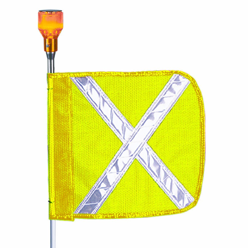 Flagstaff FS8 Split Pole Safety Flag with Reflective X and Light