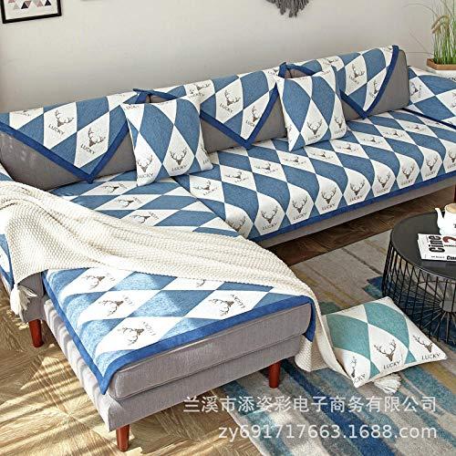 UTDFEOPSG Funda de sofá Antideslizante para Sala de Estar, sofá elástico de Cuatro Estaciones Funda de sofá en Forma de L Funda de sillón Zafiro 70 * 210 cm