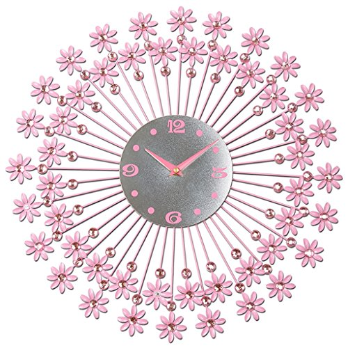 Sunjun Kreative Persönlichkeit Wohnzimmer Wanduhr Wandtafeln mute Uhr europäischen Mode Schlafzimmer moderne Kreis Uhr Kunst ( Farbe : Pink )