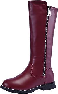 snofiy Girl's Waterproof Snow Boots Side Zipper Fur Lining Low Heels Knee High Riding Mid-Calf Booties