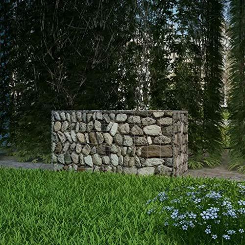 LYRLODY- Jardinière Gabion Pierre avec Couverture en Acier Galvanisé pour Maison et Affaires, Capacité de Charge 1400kg, 100 x 50 x 50 cm