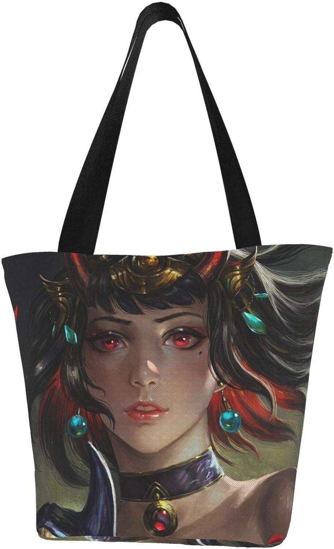 Devil Horns Devil Mask Girl Art Themed Printed Women Canvas Handbag Zipper Shoulder Bag Work Booksbag Tote Purse Leisure Hobo Bag For Shopping