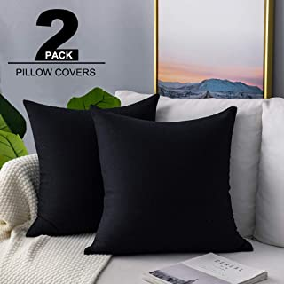 VOTOWN HOME Pack of 2 Decorative Throw Pillow Covers 18x18 Inch Cushion Cover Pillow Case Black for Couch Sofa