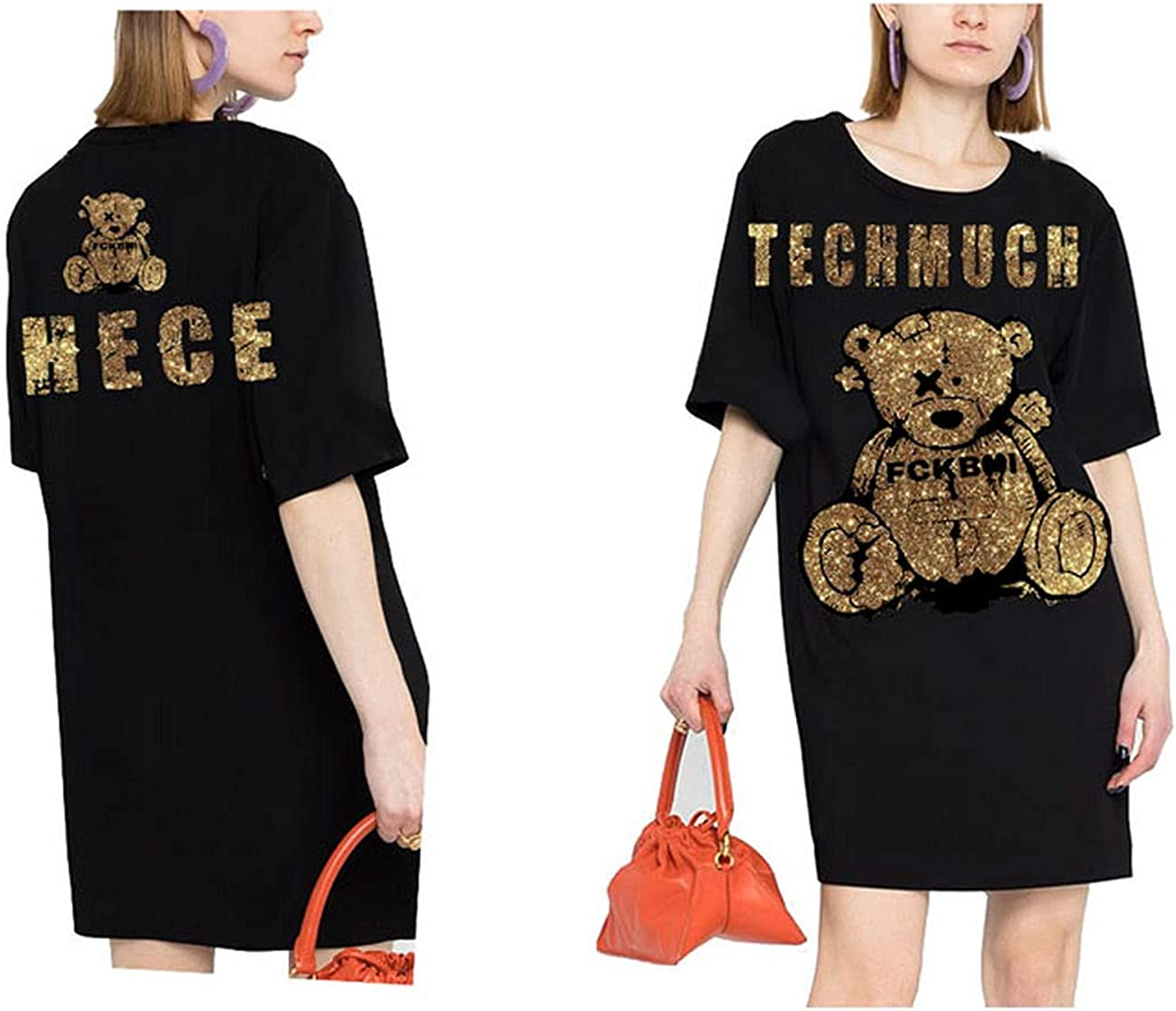 Tide Brand One-Eyed Bear Letters Hot Rhinestone Black Short Sleeve T-Shirt T21110C6193
