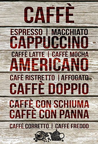 Schatzmix metalen bord koffie types en soorten overzicht metalen bord wanddecoratie 20x30 tin sign