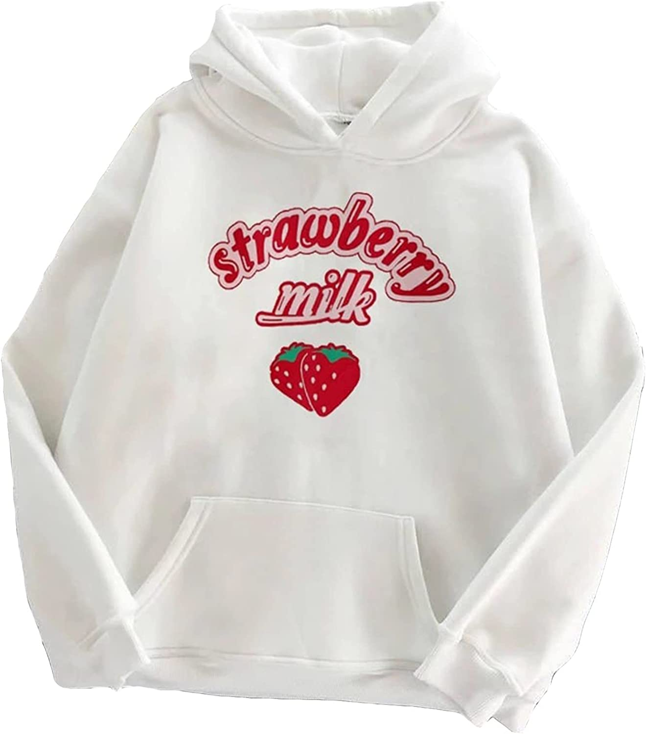 Bravetoshop Challenge the lowest price of Japan Hoodie Special price for a limited time Women Pullover Drawstr Graphic Strawberry