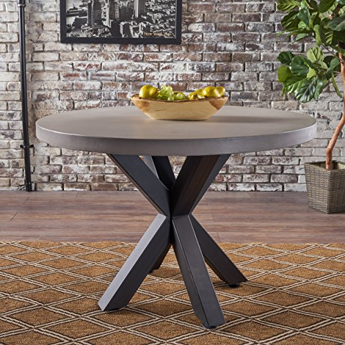Christopher Knight Home Teague Light Weight Concrete Circular Dining Table with Iron Cross Pedestal Base, White / Black
