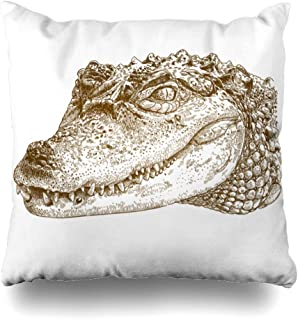 Ahawoso Throw Pillow Cover Head Alligator Antique Engraving Crocodile Nature African Vintage Amphibian Caiman Design Scary Home Decor Pillowcase Square Size 18
