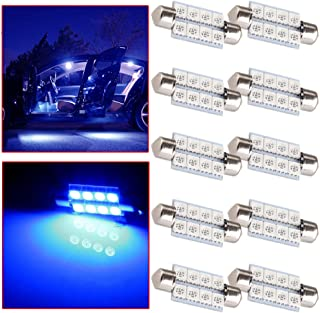 OCPTY Extremely Bright 39mm Festoon Blue Light for 6411 6418 C5W DE3423 6413 DE3425 Car Interior Dome License Plate Door Lights Pack of 10