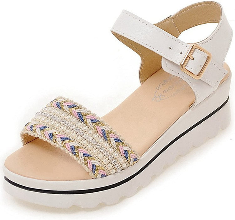 Giles Jones Wedge Flip-Flops Flat Sandals for Women,Boho Weave Bead Open Toe Buckle Beach shoes