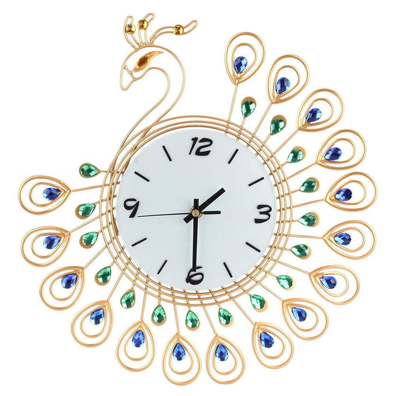 秘書信じる酸化物ルームオフィスのための壁時計の金属のラインストーンの家の装飾の孔雀の時計 (ゴールド)