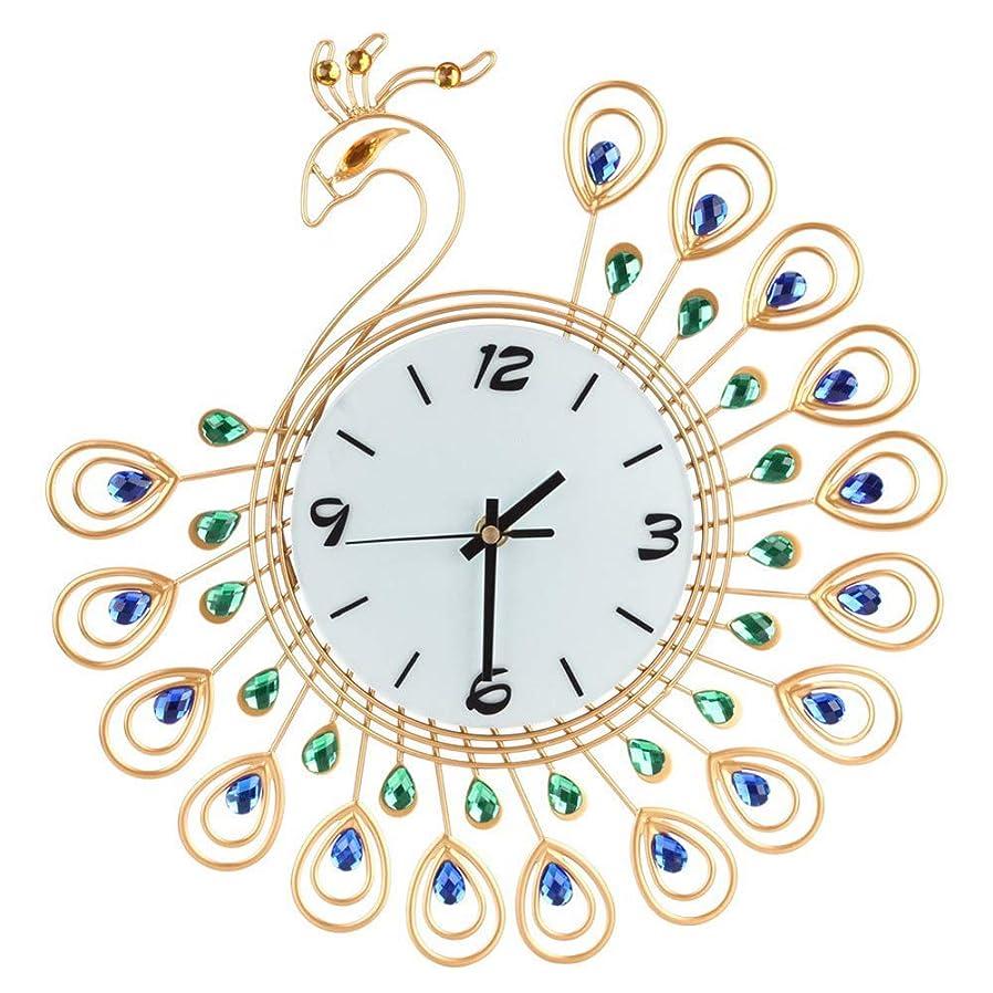 郵便物口実亡命ルームオフィスのための壁時計の金属のラインストーンの家の装飾の孔雀の時計 (ゴールド)