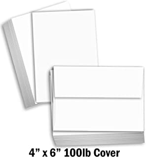 Hamilco White Cardstock Thick Paper - Blank Index Flash Note & Post Cards - Greeting Invitations Stationery 4 X 6 Heavy Weight 100 lb Card Stock for Printer (100 Pack - with Envelopes)