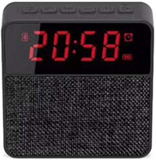 Cloth Clock Bluetooth Speaker Card Bluetooth Speaker Phone Audio Wireless Subwoofer Clock Display,Black