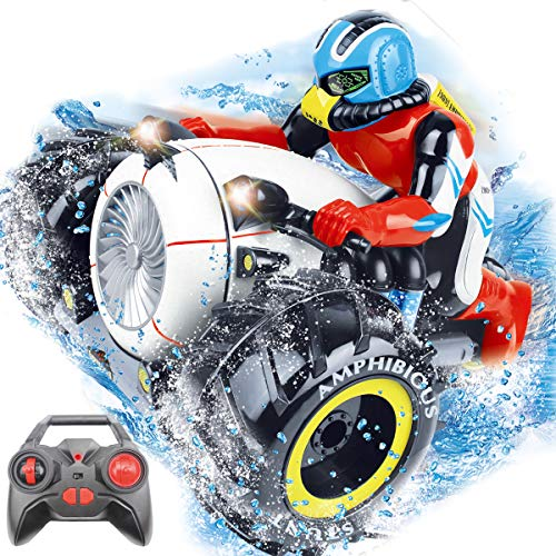 Fistone RC Car High Speed Spinning Stunt Car 2.4G Remote Control Amphibious Motorcycle Drives on Land and Water Vehicle Toys for Kids