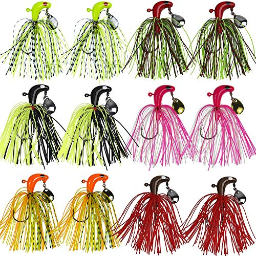 Pesca Duro Spinner Cebos Señuelos Kit Metal Spinnerbait Silicona Falda Jig Head Lure Mezclar Colores Buzzbait Swimbaits Bajo Trucha(12pcs)