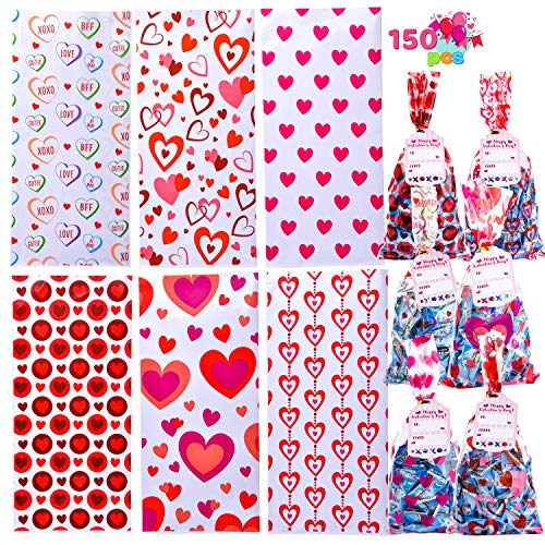 150 Pieces Cellophane Gift Bags with Gift Tag for Valentines Day in 6 Designs for Kids Party Favor, Classroom Exchange Prizes, Valentine's Greeting Cards, with Colorful Heart shaped Themed Design