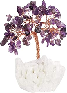 Loveliome Amethyst Crystal Tree, Rock Quartz Base Feng Shui Bonsai for Money Wealth Good Luck Reiki Healing Balancing Decor