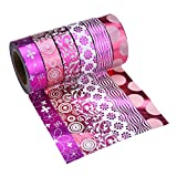 Washi Tape Dekoband 6er Set, Dekorative Sticky Papier Masking Tape Klebeband (Rosa)