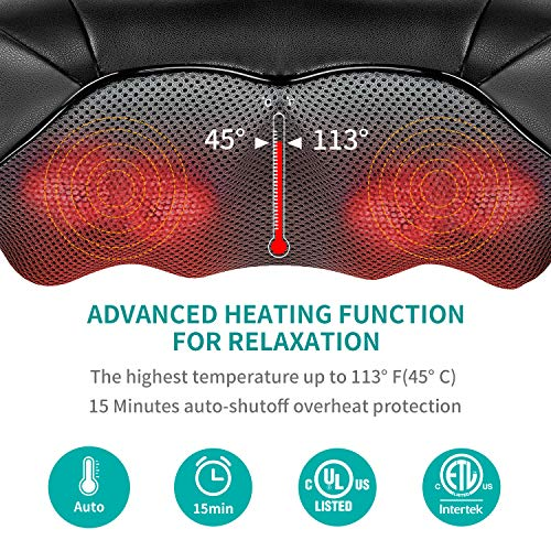 Nekteck Shiatsu Back Neck Massager, Deep Kneading Shoulder Massager with Heat, Waist Massage Pillow for Home Car and Office Use (Blue)