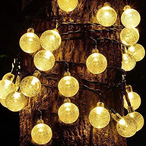 Guirnaldas Luces Exterior Solar Luces LED Navidad, 50LED 10M IP65 Impermeable 8 Modos Cadena de Luces Decoracion, Luces Solares LED Exterior Jardin para Navidad,Boda,Fiesta,Festival,Jardin