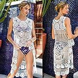 Artículos de decoración para el hogar, trajes de baño nueva mujer cubierta de playa sin mangas Top Sense de moda hueco camisa playa cubierta bikini playa smockBeach Smock, Ramadan blanco