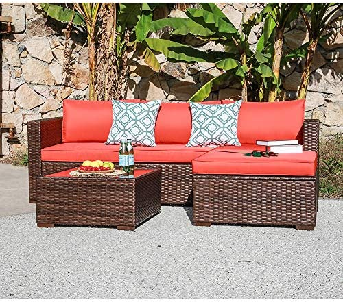 Best OC Orange-Casual Outdoor Sofa Sectional Set Patio Furniture Sets All-Weather Brown PE Wicker with Or