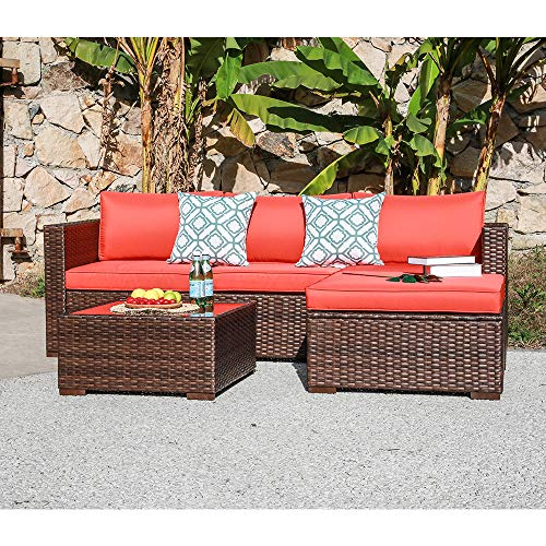 OC Orange-Casual Outdoor Sofa Sectional Set Patio Furniture Sets All-Weather Brown PE Wicker with Orange Cushion and Coffee Table Fits for Porch, Backyard, Poolside (5 Pieces)