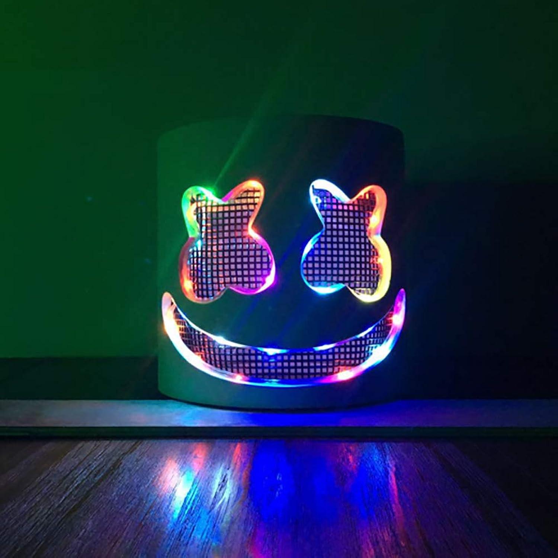 YSoutstripdu DJ-Maske für den ganzen Kopf, bunt, Marshmello-Helm, LED, Leuchtend, für Bar, Musik, Cosplay, Party, Konzert, elektronische Musik Festivals, Requisite Warm MultiFarbe